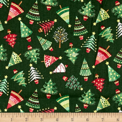 Traditional Metallic Christmas Trees Green Fabric
