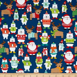 Novelty Christmas Novelty Scatter Blue Fabric