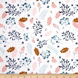 Forest Talk Pine White/Blue Fabric