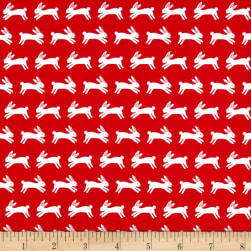 Forest Talk Jumping Rabbits Red Fabric