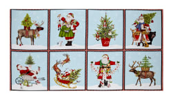 Kaufman Holly Jolly Christmas Block 23.5'' Panel Digital Print Snow Fabric