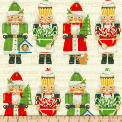 Kaufman Holly Jolly Christmas Dolls Digital Prints Ivory