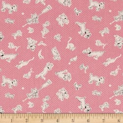 Lazy Days Dogs and Animals Pink Fabric