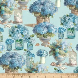Coastal Bliss Floral Blue Fabric
