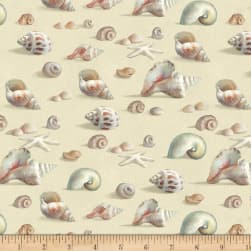 Coastal Bliss Seashells Allover Light Taupe Fabric