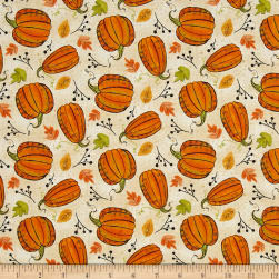 Autumn Road Pumpkins Tan Fabric