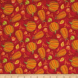 Autumn Road Pumpkins Red Fabric