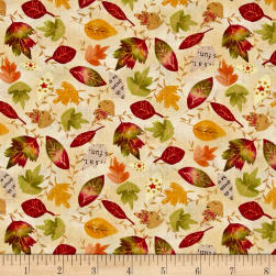 Autumn Road Leaves Allover Tan Fabric