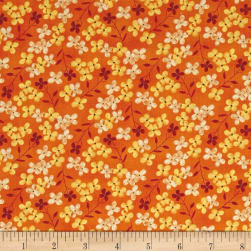 Autumn Road Tiny Flowers Orange Fabric