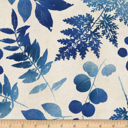 Indi-glow Large Leaves Allover Ivory Fabric