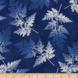 Indi-glow Ferns Allover Blue Fabric
