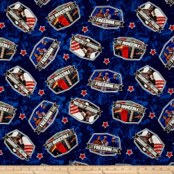 Saturday Evening Post Patriotic Toss Blue Fabric