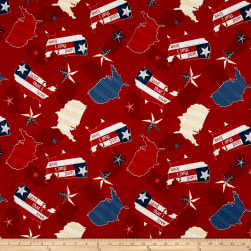 Heritage Country Toss Red Fabric