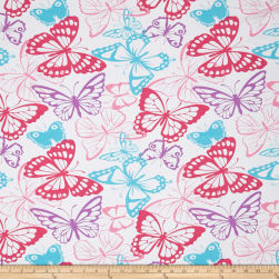 Jersey Knit Butterfly Packed White Fabric