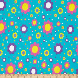 Jersey Knit Bright Flowers Turquoise Fabric