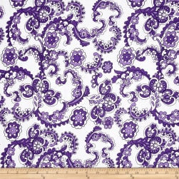 Jersey Knit Floral Paisley Lavender Fabric
