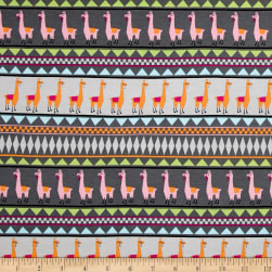 Jersey Knit Llama Stripe Gray Fabric
