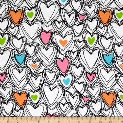 Jersey Knit Scribble Hearts White