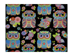 Night Bright Large Owls Black