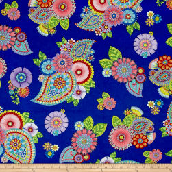 Night Bright Paisley and Floral Blue Fabric