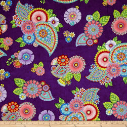 Night Bright Paisley and Floral Dark Purple Fabric