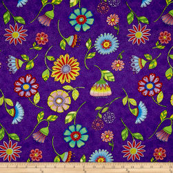 Night Bright Flower Toss Purple Fabric