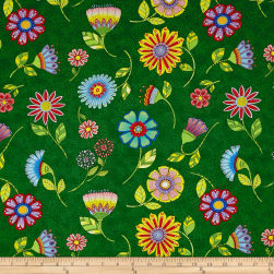 Night Bright Flower Toss Green Fabric