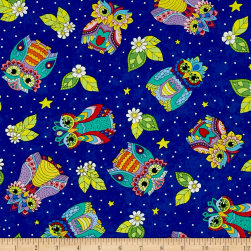 Night Bright Owl Toss Blue Fabric
