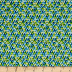 Night Bright Feathers Blue Fabric