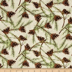 Christmas in the Wildwood Pinecones Tan Fabric