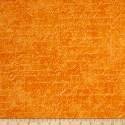 Under a Spell Cursive Texture Orange Fabric