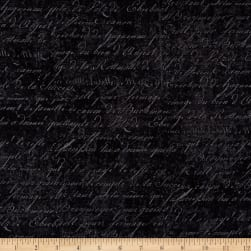 Under a Spell Cursive Texture Black Fabric