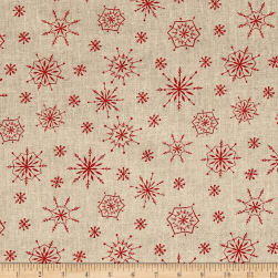 Plaid for the Holidays Snowflake Toss Tan Fabric