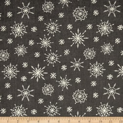 Plaid for the Holidays Snowflake Toss Black Fabric