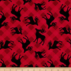 Plaid for the Holidays Deer Toss Red