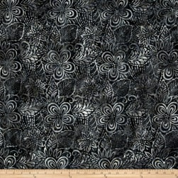 Wilmington Batiks Large Flowers and Leaves Charcoal Fabric