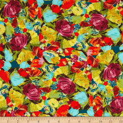 Art Gallery Sage Cactus Flora Berry Fabric