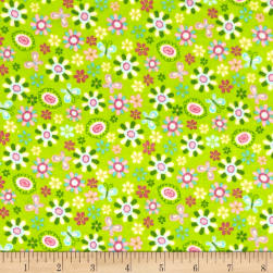 Comfy Flannel Tossed Flowers Green
