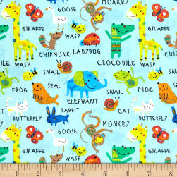 Comfy Flannel Animals Light Turquoise