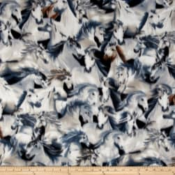 Fleece Stampede Grey Fabric