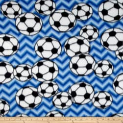 Fleece Chevron Soccer Blue Fabric