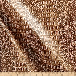 Faux Leather Gator Tan/White Fabric