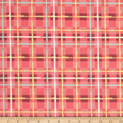 Art Gallery Mad Plaid Electric Watermelon Plaid Fabric