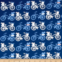 Art Gallery Inblue Jersey Knit Fietsen Intense Fabric