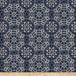 Fabricut Ahoy Embroidered Navy Fabric