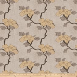 Mount Vernon Asian Floral Linen Blend Whiskey Fabric