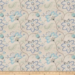 Fabricut Bettino Floral Embroidered Linen Blend Lagoon Fabric