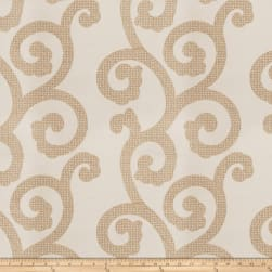 Fabricut Brando Scroll Silk Embroidered Natural Fabric