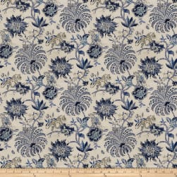 Fabricut Deck Floral Linen Blend Ink Fabric