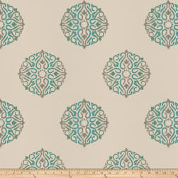 Fabricut Doozy Medallion Embroidered Taffeta Teal Fabric